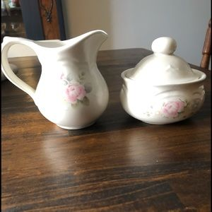 Vintage Pfaltzgraff Tea Rose sugar and creamer